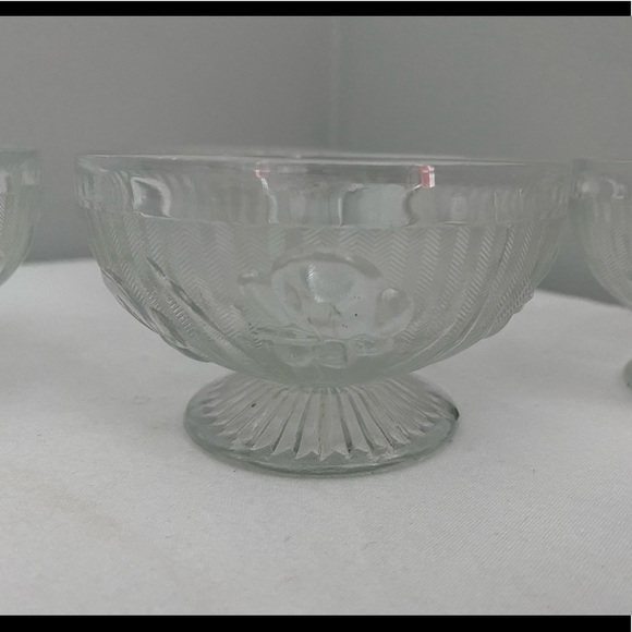 Vintage Other - Depression Glass Iris & Herringbone Footed Bowls